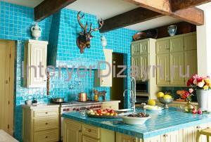 blue with yellow kitchen