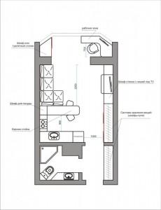 Авторская планировка квартиры студии
