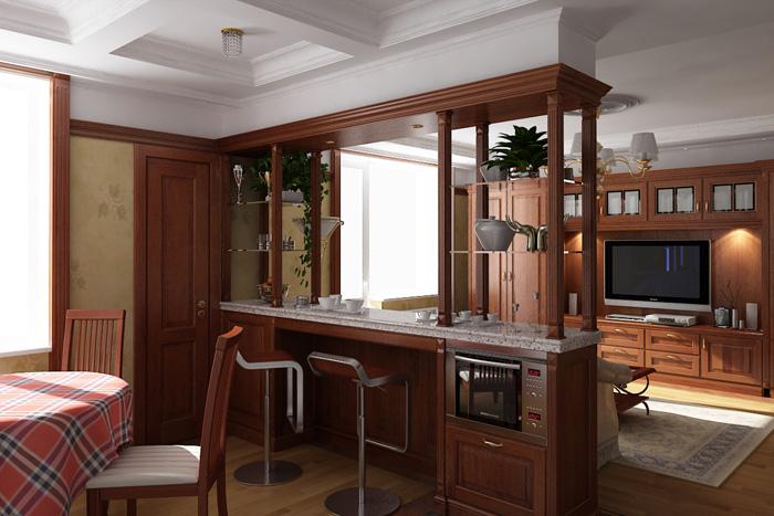 планировка кухни студии
