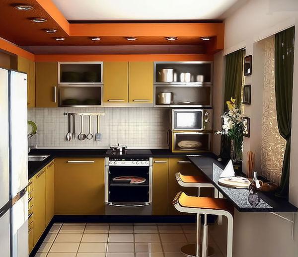 маленькая кухня в стиле хай-тек