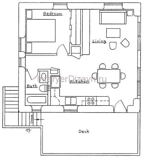 планировка кухни студия