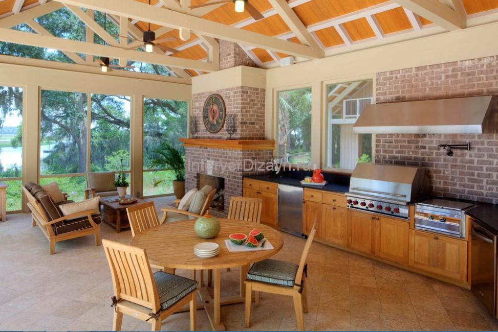 Кухня на веранде дизайн