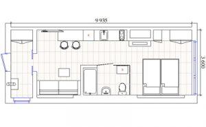 Пример планировки кухни студии