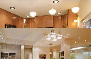 Верхнее освещение на кухне