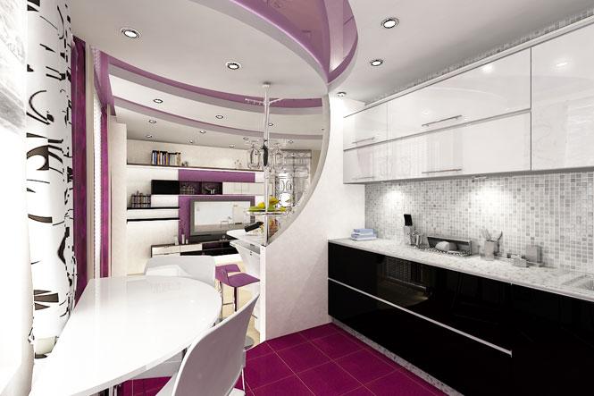 Кухня студия 20 кв м дизайн фото