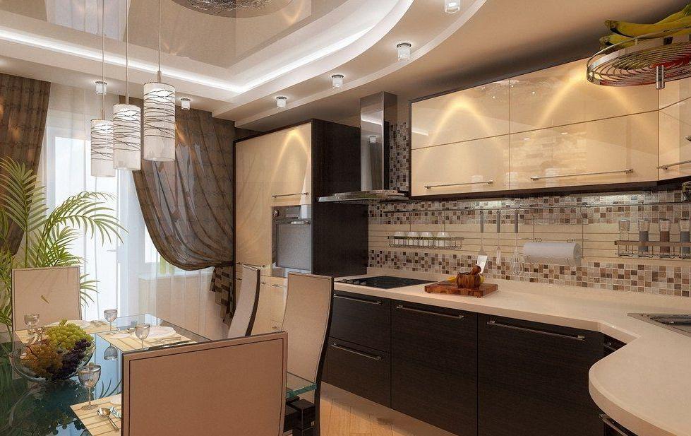Кухня коричневая с бежевым фото