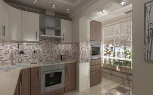 балкон совмещенный с кухней мебелью