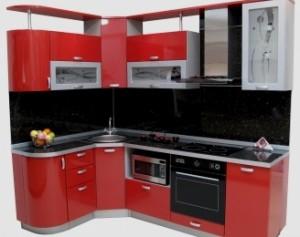 глянцевая ламинированная мебель для кухни