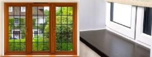 деревянное и пластиковое окно