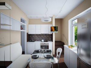 дизайн небольшой кухни в светлых тонах