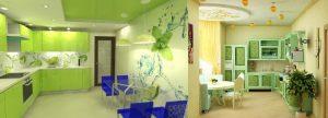 зеленая кухня тон стен и гарнитура