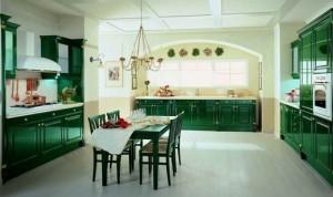 зеленое и белое в интерьере кухни