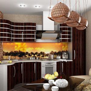 кухня венге со стеклянным фартуком в африканском стиле