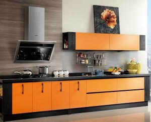 кухня венге с оранжевыми вставками