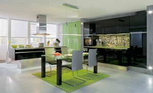 кухня гостиная в зеленых тонах