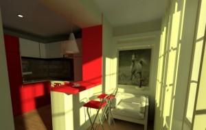 кухня совмещенная с балконом барной стойкой