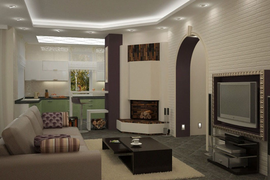 Дизайн совмещенная гостиная с кухней