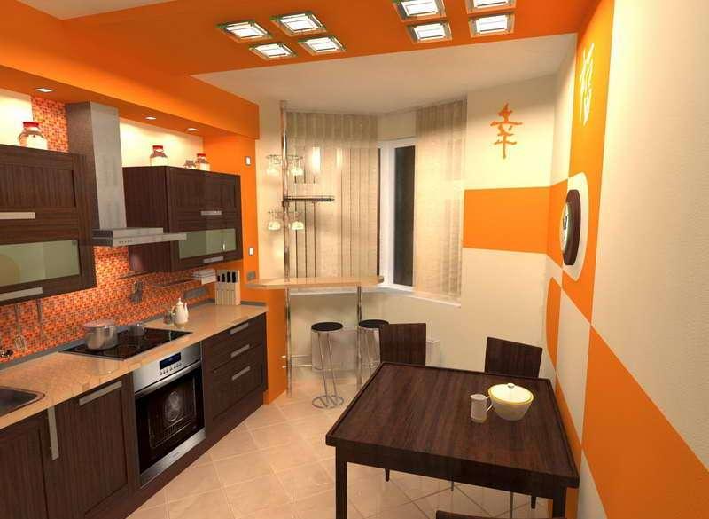 Дизайн кухни п44т с треугольным эркером