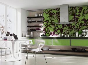 сочетание светлой мебели с оливковой кухней