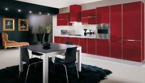 бордовый и черный цвет в кухне
