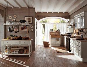 иммитация деревянного пола на кухне прованс
