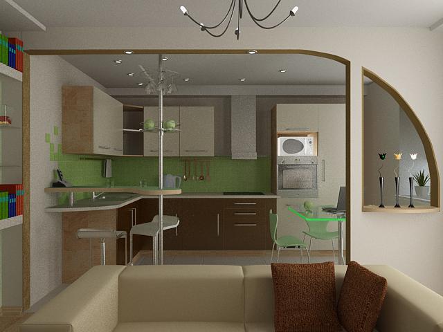 фото дизайн маленькой кухни студии