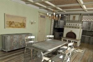 освещение в кухне русской избе