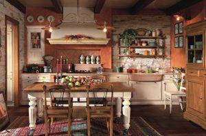потолочные балки в кухне кантри