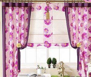 шторы для кухни в цветочек