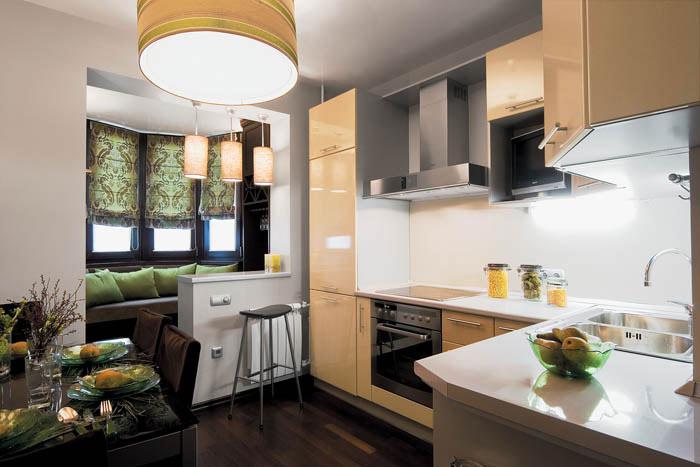Дизайн кухни, совмещенной с лоджией