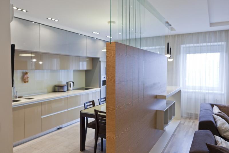 Дизайн кухни-студии с перегородкой