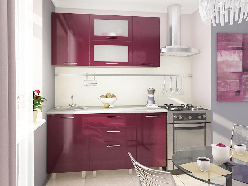 Кухня бордовая с белым