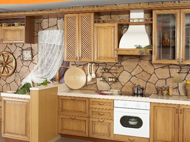 Мебель для кухни в стиле деревни