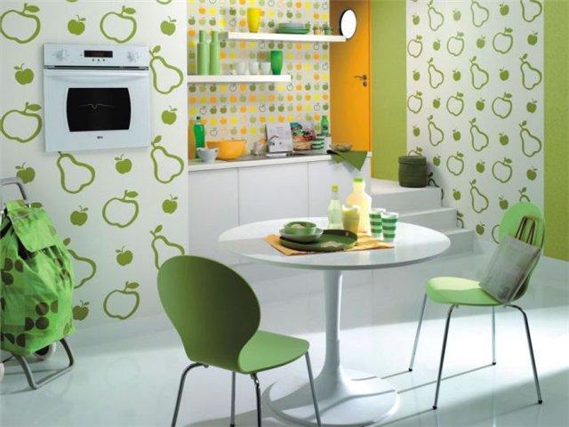 Подбор цвета обоев для кухни