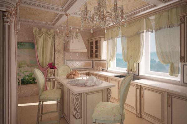 Кухонные шторы в стиле прованс