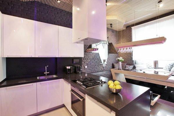 Планируем расстановку мебели в Г-образной кухни