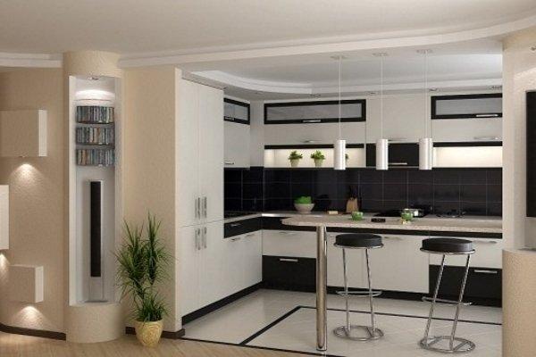Барсная стойка и стулья на кухне