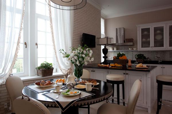 шторы прованс в тон кухни
