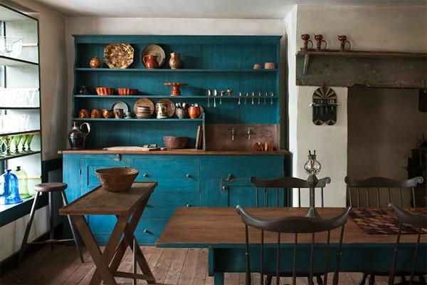 Стильная синяя кухня – какие обои выбрать?