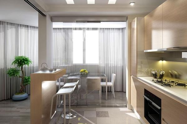 Дизайн кухни, совмещенной со столовой