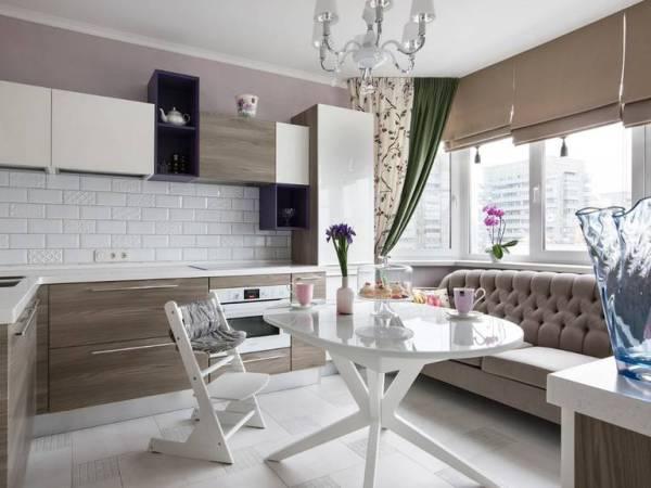 Кухня с диваном в стиле минимализм