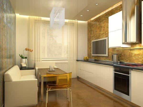 Маленькая кухня с диваном в светлых тонах