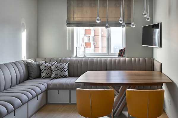 Угловой диван с ящиками на кухне