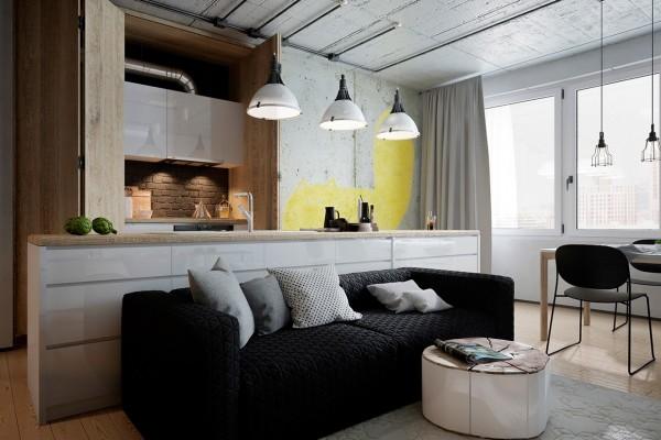 кухня в стиле лофт с диваном